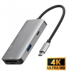 Type C 多功能HUB(Type C轉 2x USB 3.0/ HDMI 4K/ SD/ TF/ USB C PD 轉换+讀卡器)( 多功能6合1USB Type-C 擴充器)